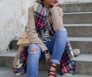 plaid scarf outfit idea image