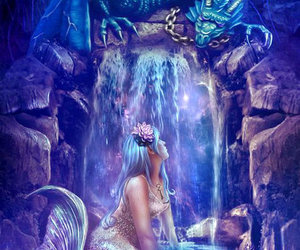 mermaid, fantasy, and dragon image