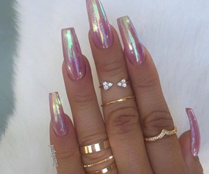 nails, holographic, and beauty image