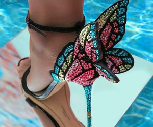 heels, butterfly, and fashion image
