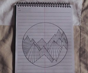 drawing, grunge, and mountain image