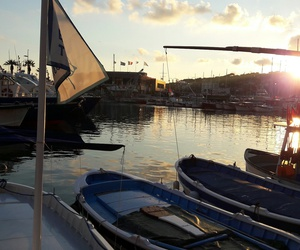 sonnenuntergang, boote, and hafen image
