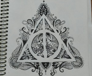 black and white, deathly hallows, and design image