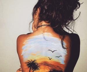 art, girl, and beach image
