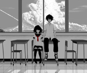 anime, couple, and school image