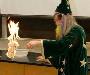 chemistry, fire, and wizard image