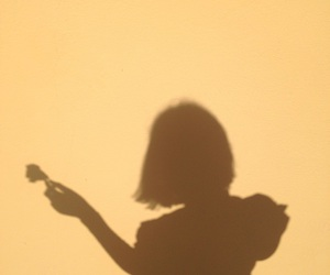 girl, yellow, and shadow image