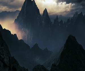 mountains, nature, and dark image
