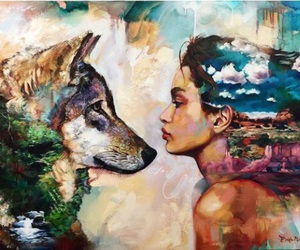 girl, painting, and wolf image