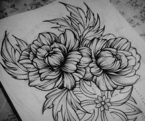 draw, peonies, and tattoo image