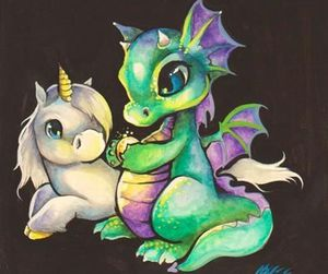 unicorn, dragon, and art image