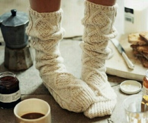 socks, winter, and coffee image
