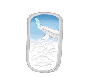 airplane, clouds, and overlay image