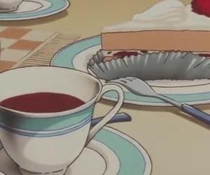 cake, anime, and tea image