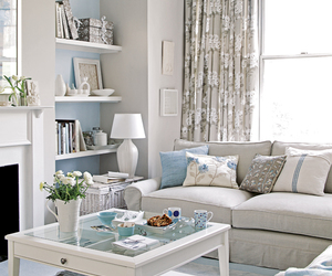 living room, home, and blue image