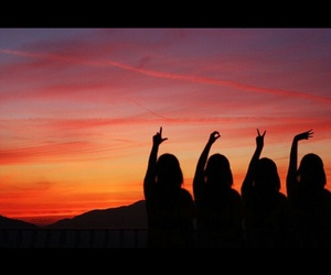 love, sunset, and friends image