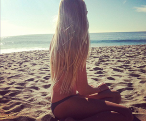 girl, beach, and summer image