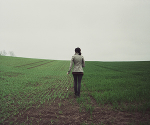 field and girl image