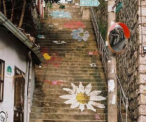 flowers, stairs, and korea image