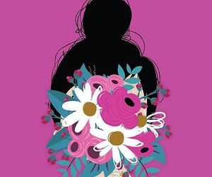 girl, draw, and flowers image