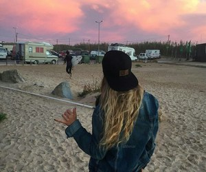 girl, sky, and cap image