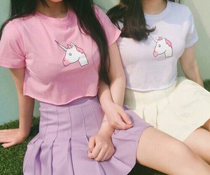 unicorn, pink, and outfit image