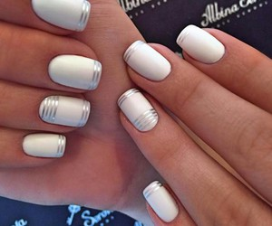 manicure, nails, and stripes image