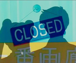 blue, closed, and cute shop image