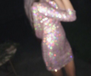 dress, glitter, and dark image