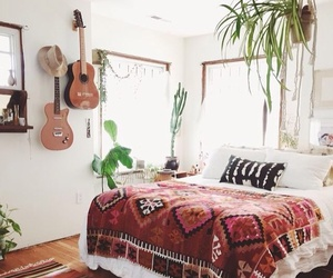 bedroom, room, and guitar image