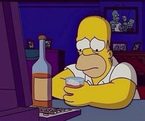sad, the simpsons, and alcohol image