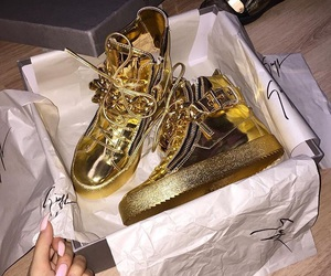 shoes, gold, and luxury image