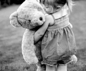 girl, bear, and black and white image