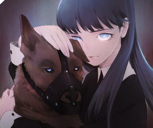 anime, dog, and girl image