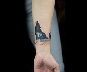 wolf, blue, and tattoo image