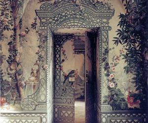 art, flowers, and door image