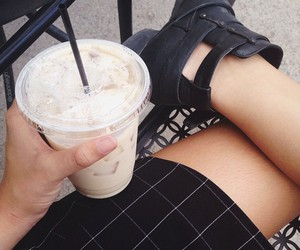 black, tumblr, and coffee image
