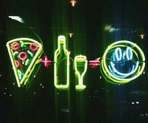 neon, pizza, and black image