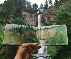 art, nature, and waterfall image