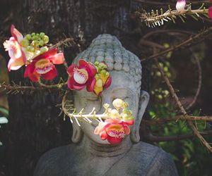 Buddha, peace, and flowers image