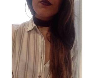 choker, nosepiercing, and lipstick image