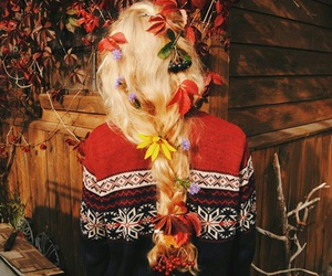 autumn, blonde hair, and flowers image