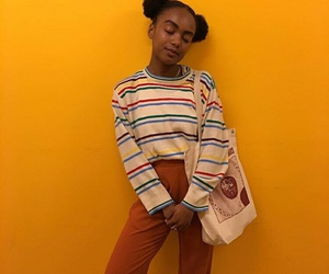 hair, orange, and outfit image