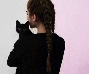 cat, black, and girl image