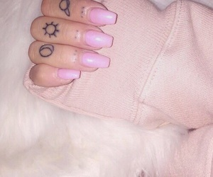 tattoo, nails, and pink image