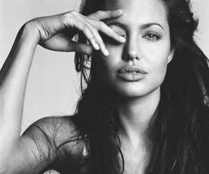 Angelina Jolie, black and white, and hair image