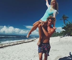 beach, couple, and alexis ren image