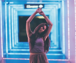 girl, lights, and like image