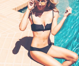bathing suit, bikini, and black bikini image