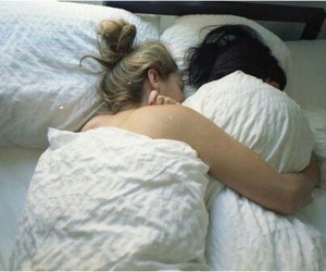 lesbian, bed, and couple image